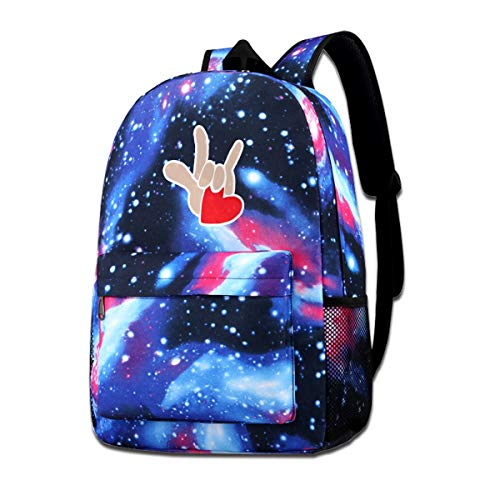 (American Sign Language I Love You Starry Sky Backpacks Casual Daypack Bags )