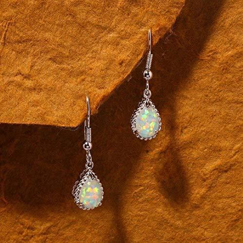 Vintage Silver Plated White Fire Opal Wedding Women Dangle Drop Earrings Hoop