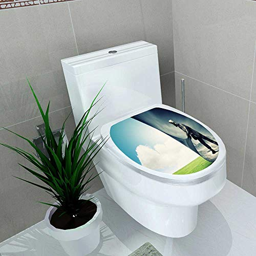 Decal Wall Art Decor Man in Gas mask Turn Page Ecology Concept Toilet Decoration W14 x L16