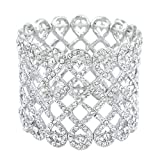 EVER FAITH Art Deco Love Knot Wide Stretch Bridal Bracelet Clear Austrian Crystal Silver-Tone