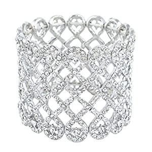 EVER FAITH Art Deco Love Knot Wide Stretch Bridal Bracelet Austrian Crystal