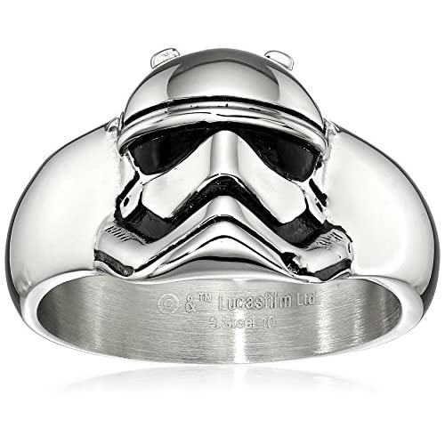 Star Wars Jewelry Episode 7 Stormtrooper Stainless Steel 3D Ring, Size 11
