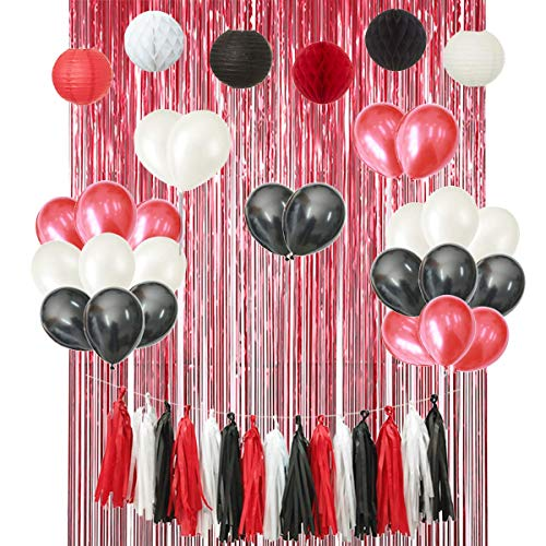 Mickey Mouse 46PCS Red Black White Birthday Wedding Bridal Baby Shower Minnie Mouse Party Decoration Supply Kit - Paper Lantern, Honeycomb Ball, Tassel Garland, Latex Balloon, Foil Fringe Curtain]()