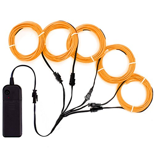 Zitrades EL Wire Orange Neon Lights Kit with 4 Modes Portable Battery Operated for DIY Party Decoration, 5 by 1-Meter
