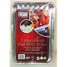 8 DISPOSABLE BBQ ALUMINIUM FOIL TRAYS. 34cm x 24cm. ROASTING FOOD BARBECUE PARTY by Fusion