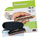 CASCHA HH 1610 EN Professional Blues Harmonica Set with English Instructional Book Plus MP3-CD