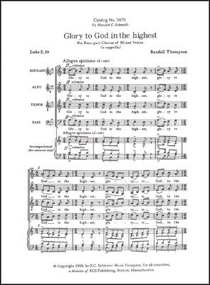 Glory to God in the Highest Sheet Music (Glory To God In The Highest Sheet Music)