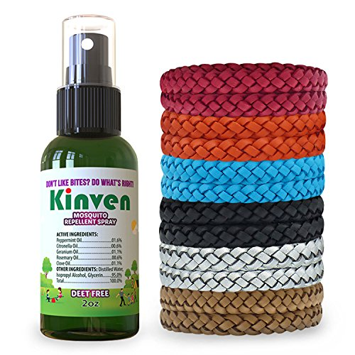 Kinven Anti Mosquito Repellent Bundle - Repel Mosquitos with Bracelet & Spray, Waterproof, Natural, DEET-Free, Indoor & Outdoor Protection for Adults & Kids (2oz Bottle + 12 Bracelets, Multi-Color)