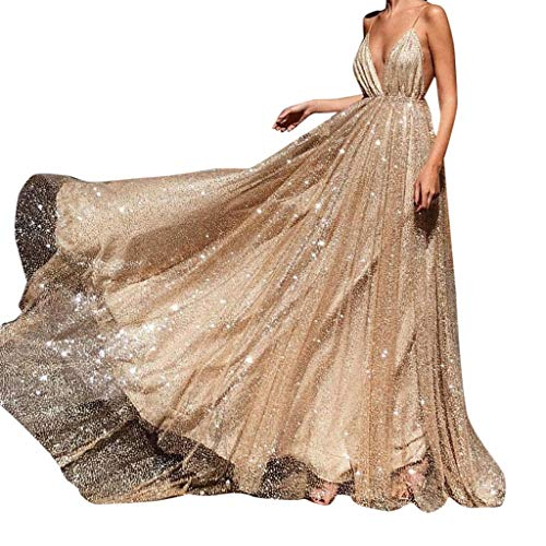 's Champagne Deep V Sling Sparkling Evening Dresses,Tulle Sequin Prom Gowns for Women, Ladies' Sexy Halter Split Long Dress ()