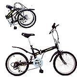 KROCK Bicicleta Plegable Acero R20 Retro 6 Velocidades Shimano Suspension Trasera Negro