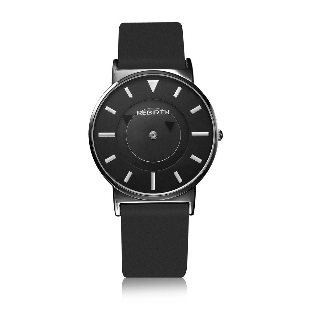 Rebirthメンズウォッチステンレススチールケースレザークォーツ腕時計メンズ 1# B071D3R1LY 1# 1#