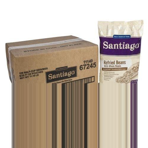 Santiago Whole Refried Beans - 29.77 oz. pouch, 6 pouches per case