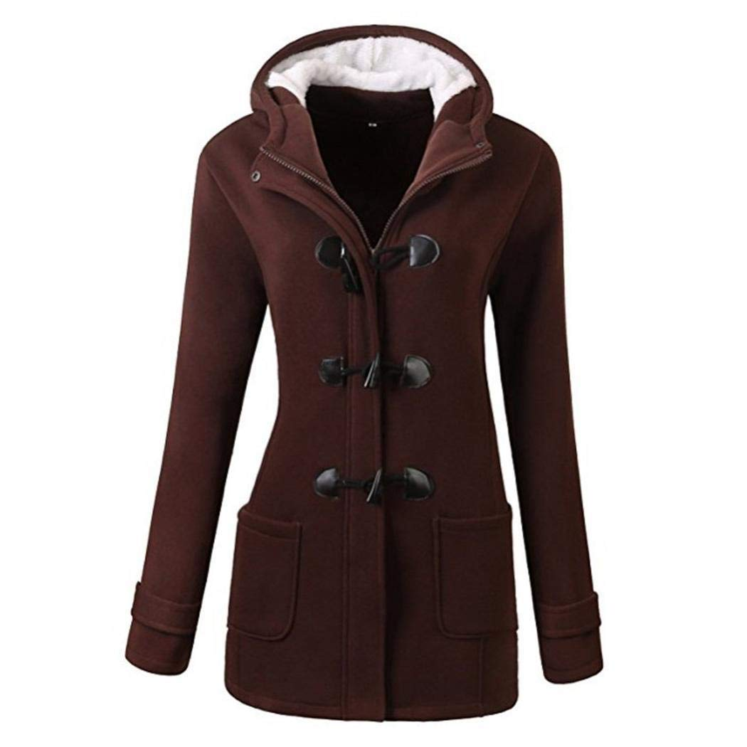 Sohune Women Hooded Horn Button Coat Leather Solid Color Winter Warm Coat Outwear Coffee by Sohune