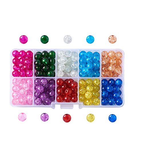 Kissitty 10 Colors 8mm Spray Painted Transparent Crackle Glass Round Beads 1.3mm Hole with Container Box for DIY Jewelry Making
