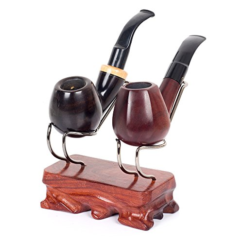Handmade Real Rosewood Wooden Smoking Pipe Stand Rack Holder (For 2 Pipes)