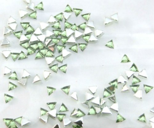 (Zink Color Nail Art Acrylic Rhinestone Light Green Triangle 100Pc Embellishment)