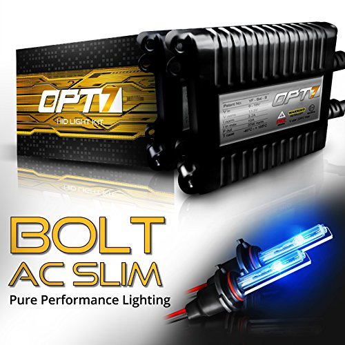 OPT7 Bolt AC Slim 9006 HID Kit - 4X Brighter - 6X Longer Life - All Bulb Sizes and Colors - 2 Yr Warranty [10000K Deep Blue Xenon Light]