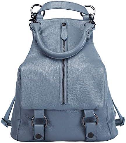 BOYATU Mujeres Mochila de Cuero Genuino Bolso Daypacks Bolsa de Hombro (Azul Elegante)