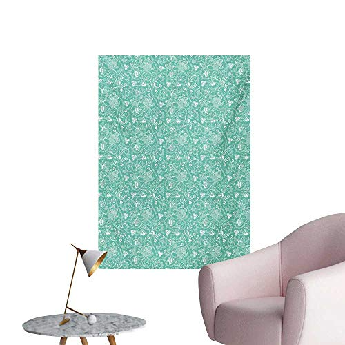 (Anzhutwelve Turquoise Photo Wall Paper Nature Illustration with Abstract Stripes Curlicues Geometric Floral DesignSeafoam White W32 xL48 Space Poster)