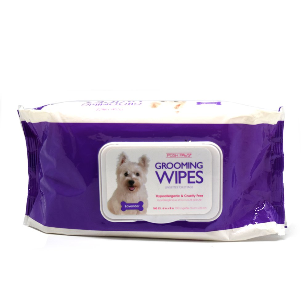 Posh Paws Hypoallergenic Dog Grooming Wipes (100-Count, Lavender)