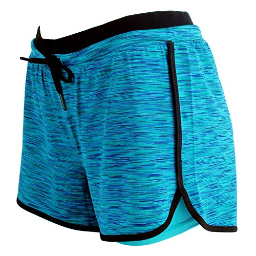 Green Walking Shorts - RIBOOM Women Workout Fitness Running Shorts Double Layer Active Yoga Gym Sport Shorts Blue Green
