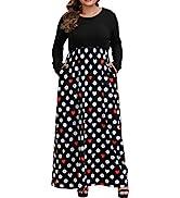 ALLEGRACE Women's Plus Size Floral Print Striped Patchwork Maxi Dress Short Sleeve Long Dresses