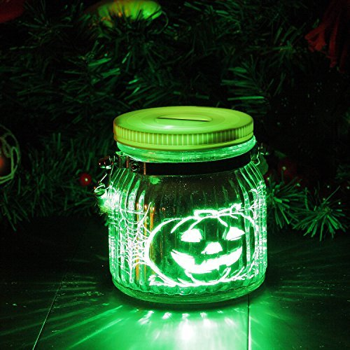 Candle Choice Mason Jar Light Indoor Outdoor Jar Light Battery Operated Lantern with Remote and Timer Halloween Light, Pumpkin ()