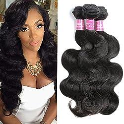"Brazilian Body Wave 3 Bundles Virgin Hair Extensions 10A Unprocessed Human Hair Weave 3pcs 12"" 14"" 16"" 300g Natural Color Brazilian Body Wave Geoyern Hair"