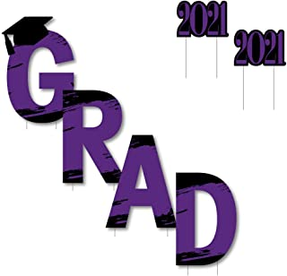 product image for Big Dot of Happiness Purple Grad - Best is Yet to Come - Yard Sign Outdoor Lawn Decorations - Purple 2021 Graduation Party Yard Signs - Grad