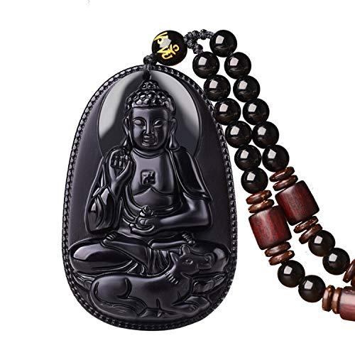 - c1lint1 100% Pure Obsidian Natural Pendant Necklace Zodiac Bodhisattva Amulet Talisman (Amitabha-Dog)