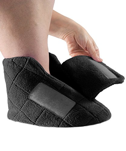 Extra Wide Swollen Feet Slippers - Soft Cozy Comfortable and (LGE, Black) (Extra Extra Wide Shoes For Swollen Feet)