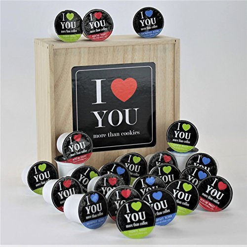 I LOVE YOU MORE THAN COFFEE Single Serve Coffee Variety Cups - 24 Cups In A Keepsake Wooden Gift Box