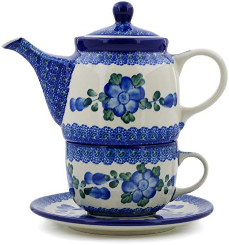 Polish Pottery 16 oz Tea Set for One made by Ceramika Artystyczna (Blue Poppies Theme) + Certificate of Authenticity by Polmedia Polish Pottery (Image #4)