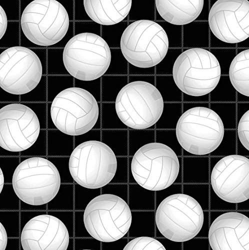 Volleyball Allover in Black by David Textiles Fleece Fabric - 1.5 yards (Fabric Volleyball Fleece)