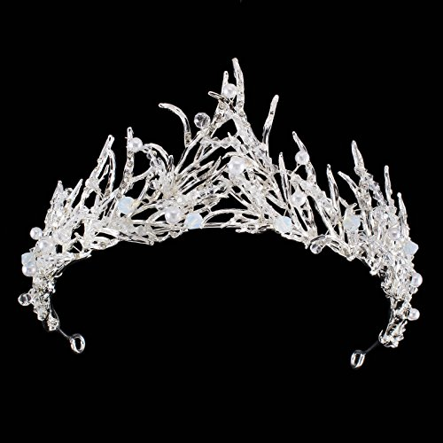 FUMUD Gold Leaf Tiara Pearl Handmade Tiara Rhinestone Crystal Crown Leaf Headband Bridal Hair Accessories (3#) ()