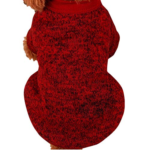 Farjing Pet Dog Sweater,Warm Puppy Sweater Fleece Sweater Clothes (L,Red ()