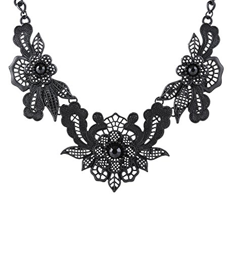 Women's Bib Collar Necklace Statement Floral Chunky Necklace (Black) by JYJ