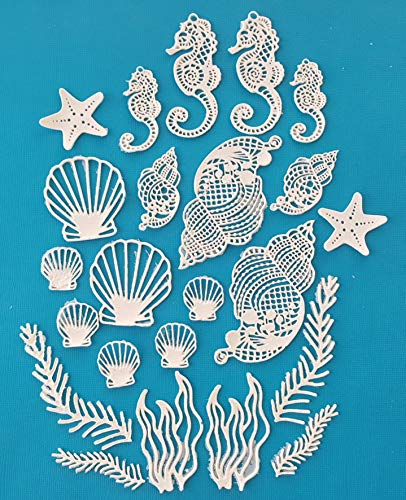 Seashells - 60 PC Bulk Discount White Vanilla Edible Lace Wedding Beach Seashell Seahorse Corals Star Fish Cake Topper