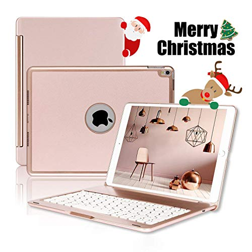 (ONHI Bluetooth Wireless Keyboard Case for iPad Pro 10.5 Keyboard Case Aluminum Shell Smart Folio Case with 7 Colors Back-lit, Auto Sleep/Wake,Silent Typing (A1701/A1709)(Rose Gold))