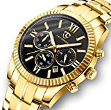 Watch, Men Watches, Luxury Business Classic Gold Stainless Steel Waterproof Luminous Chronograph Date