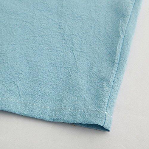 Manches Zawapemia Plus La Taille De Les Femmes 3/4 En Vrac Coton Lin Haut Robe Légère Poches De Chemise Bleu