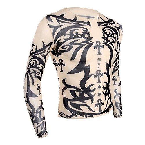 YiZYiF Men's Fake Tattoo Tribal Inspired Print Elastic Long Sleeve T Shirt Tops