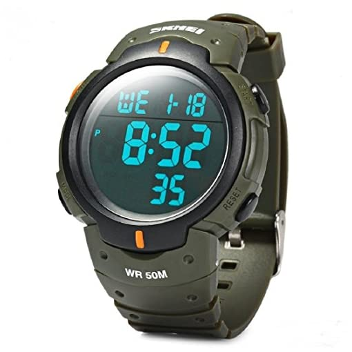 Skmei Digital Black Dial Men's Watch(Skm-1068-Green-02)
