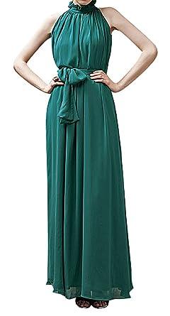 8971c39e4b11e Hibukk Women No Sleeve Flowy Stand Ruffle Collar Long Chiffon Maternity  Dress, DarkGreen XS,