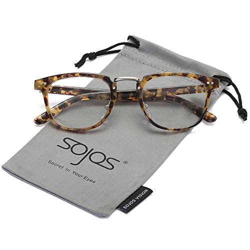 SojoS Square Reading Glasses Optical Frame Clear Lens Eyewear Eyeglasses for Men and Women SJ6005 With Yellow Tortoise Frame