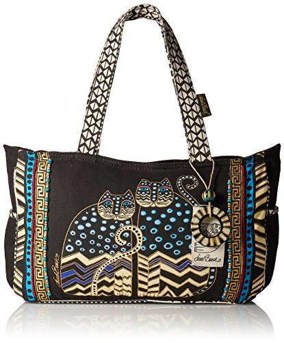 - Laurel Burch Medium Tote with Zipper Top, Spotted Cats