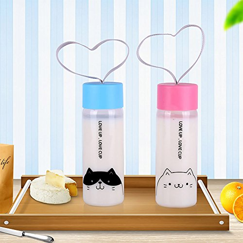 UPSTYLE Eco-friendly Healthy Plastic Transparent Wide Mouth Sports Portable My Water Bottle Water Cup with Candy Color Lid for Kids, Tea, Coffee, Milk or Juice Size 300 ml, PC103 (2 Cat)