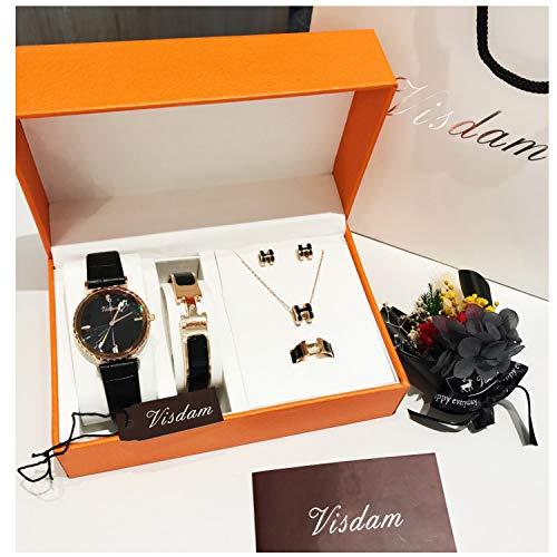 (New Women's Watch Five-Piece Fashion Belt Titanium Steel Jewelry Gift Set Quartz Waterproof)