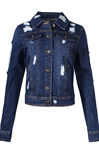 2LUV Women's Classic Long Sleeve Button Down Denim Jean Jacket Dark Blue M (Dark Denim Jean Jacket)