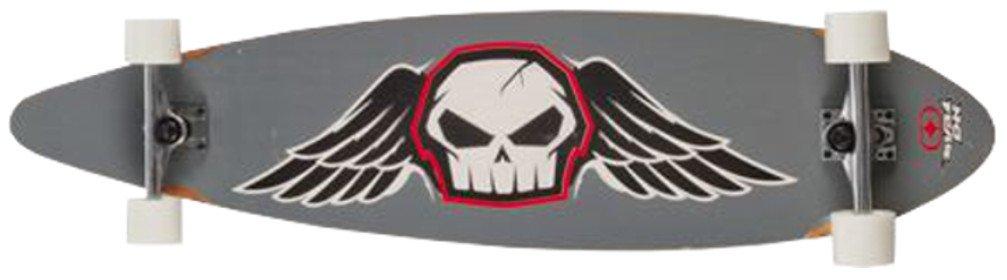 NO FEAR Longboard 112x26cm Funboard Skateboard Surfboard Holzboard Big Wheels , Modell:grau